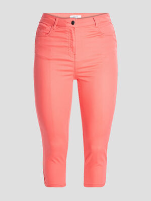 Pantalon corsaire slim orange corail femme