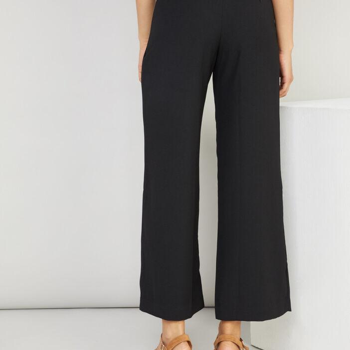 Pantalon évasé uni taille haute femme noir