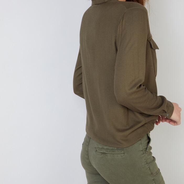 Chemise fluide avec col tailleur femme vert kaki
