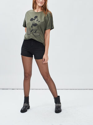 T shirt manches courtes Mickey vert kaki femme