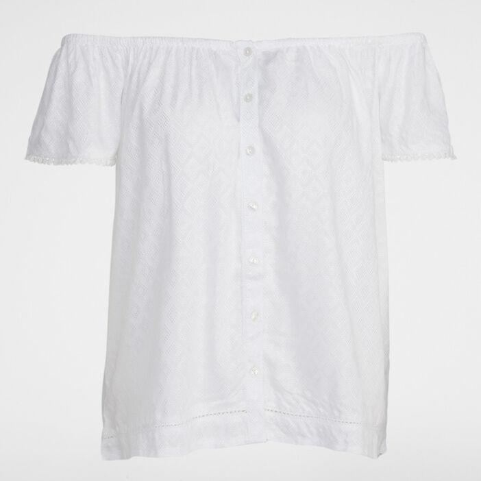 T-shirt épaules dénudées uni femme blanc