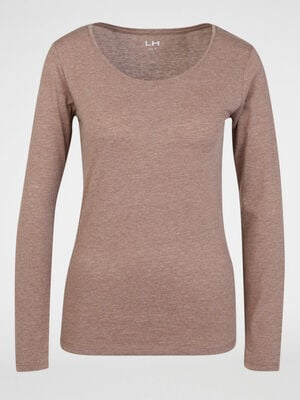 T shirt uni a col rond taupe femme