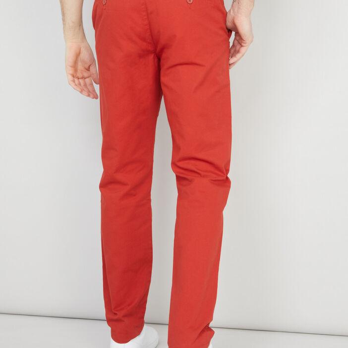 Pantalon droit uni homme rouge
