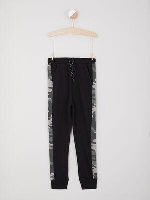 Jogging camouflage bandes contrastantes laterales noir garcon