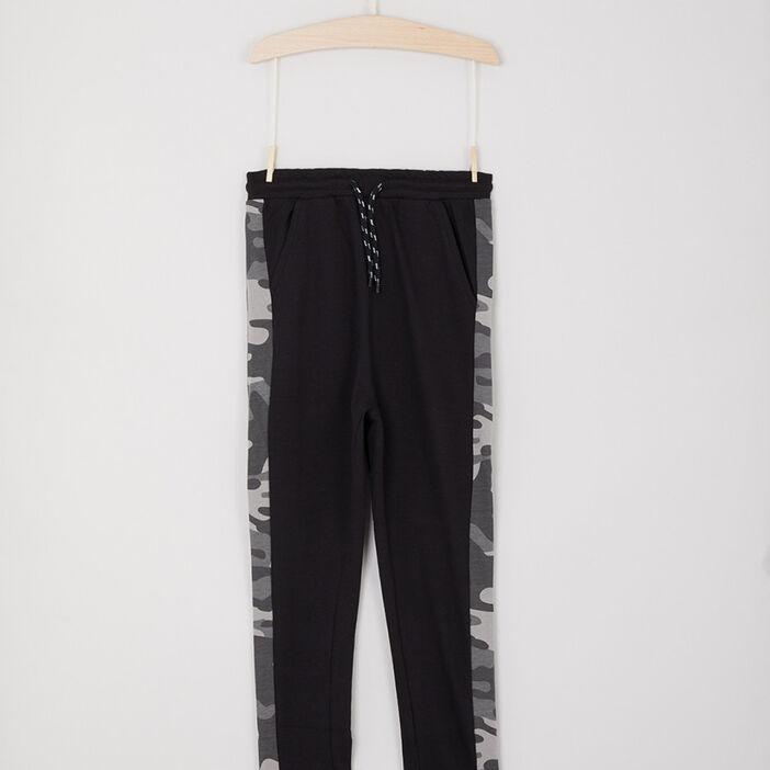 Jogging camouflage bandes contrastantes latérales garçon noir