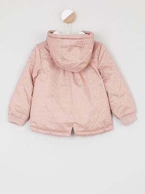 Manteau zippe avec imprime vieux rose fille
