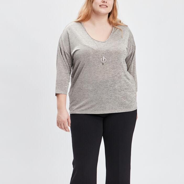 T-shirt manches 3/4 femme grande taille beige