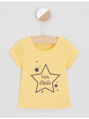 T shirt uni a message jaune fille