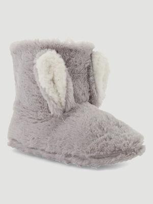 Pantoufles type boots detail 3D gris femme