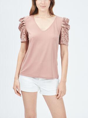 T shirt manches courtes rose femme