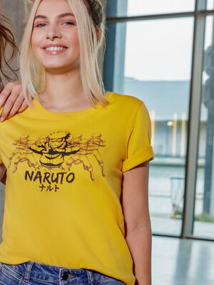T shirt manches courtes Naruto jaune moutarde femme