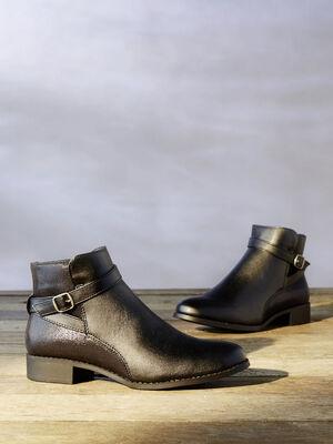 Boots serpent bride croisee noir femme