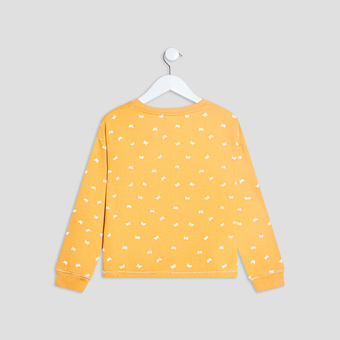 Sweat manches longues fille jaune moutarde