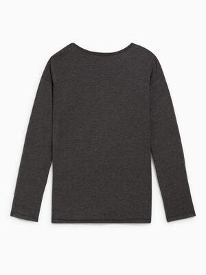 T shirt col rond uni gris fonce fille