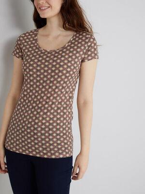 T shirt imprime rose femme