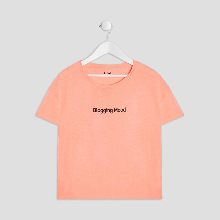 T-shirt manches courtes fille orange corail