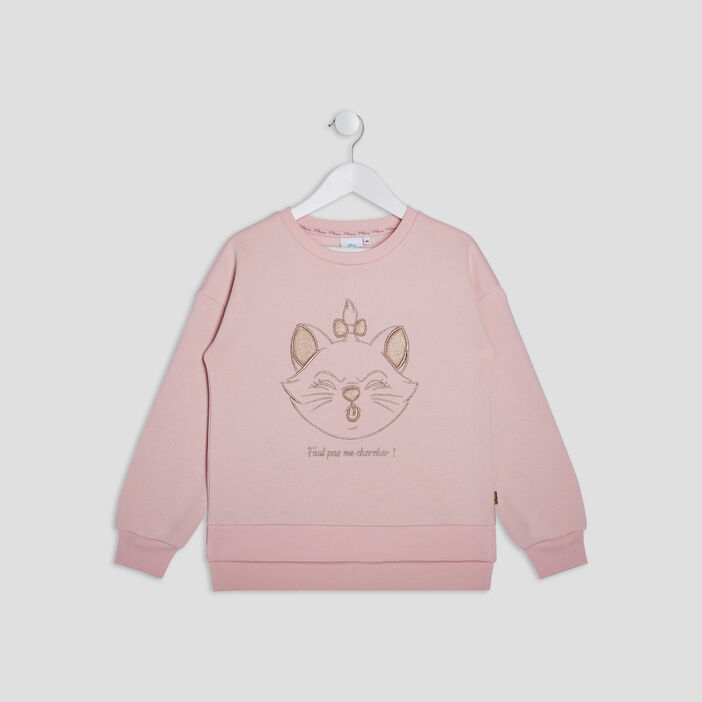 Sweat Les Aristochats fille rose