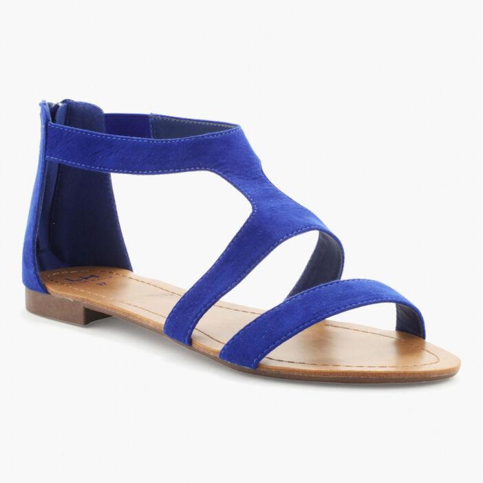 Sandales unies zip talon femme bleu