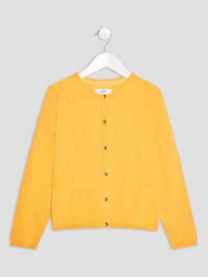 Gilet boutonne jaune moutarde fille
