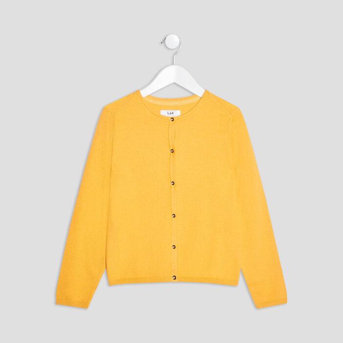 Gilet boutonné fille jaune moutarde