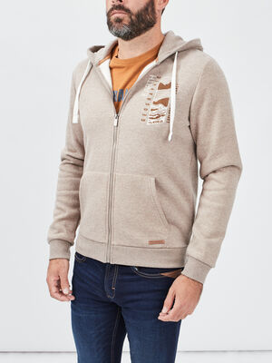 Gilet a capuche Trappeur taupe homme