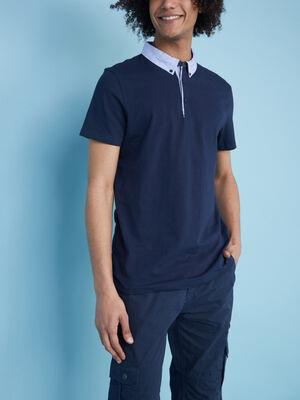 Polo bicolore en coton majoritaire bleu marine homme
