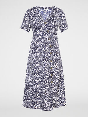 Robe a fleurs fermeture asymetrique bleu marine femme