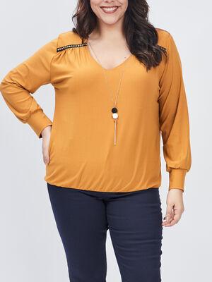 T shirt grande taille jaune moutarde femmegt
