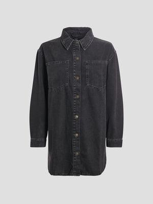 Veste droite boutonnee en jean denim noir femme
