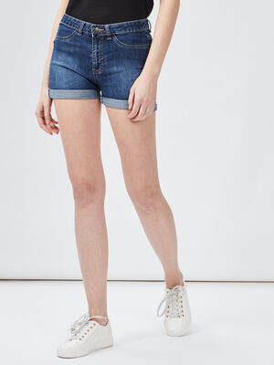 Short slim en jean denim brut femme