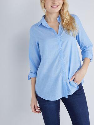 Chemise coton uni manches ajustables bleu femme
