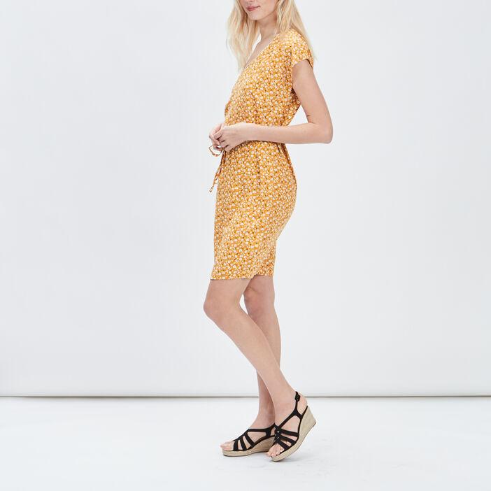 Robe droite ceinturée femme jaune moutarde