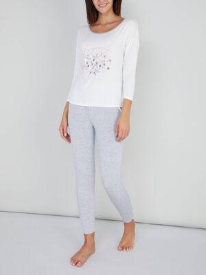 Pyjama2 pieces t shirt pantalon ecru femme
