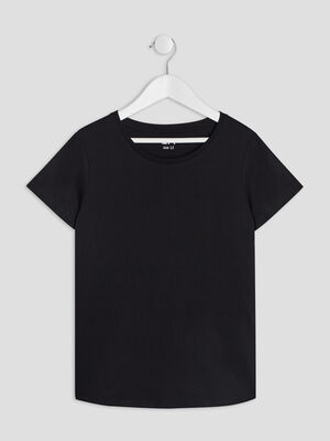 T shirt manches courtes noir fille
