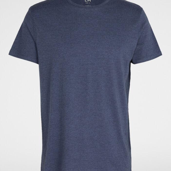 T-shirt col rond coton uni homme bleu marine