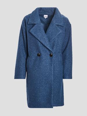 Manteau droit boutonne bleu canard femme