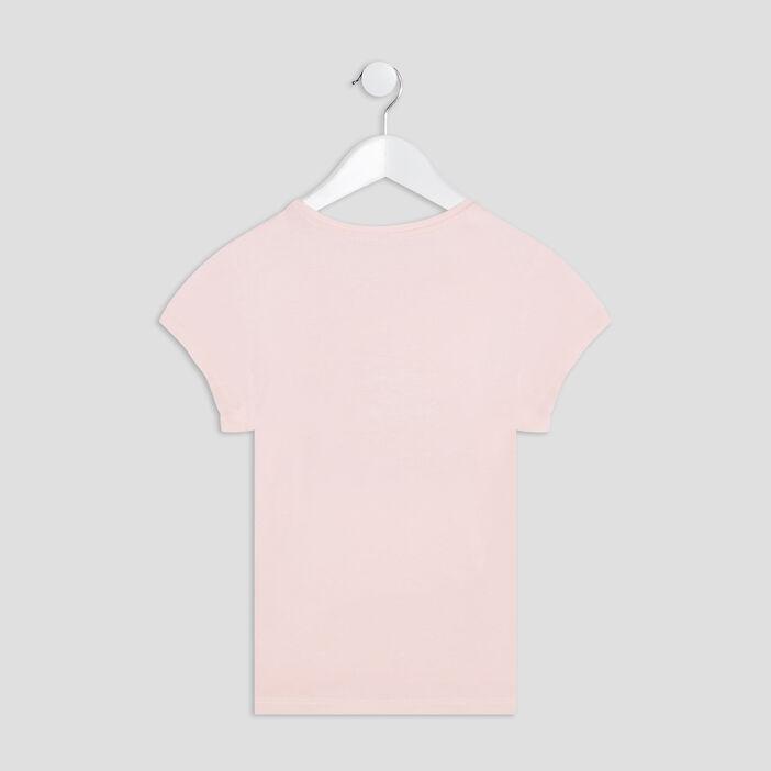 T-shirt manches courtes fille rose clair