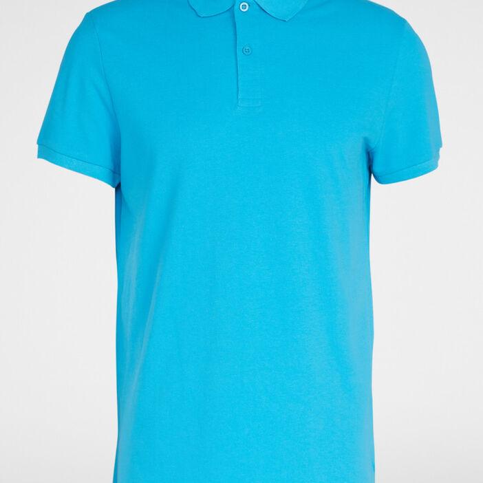 Polo uni manches courtes homme bleu turquoise