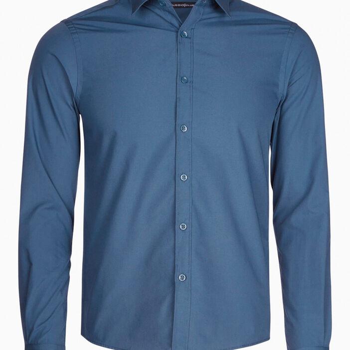 Chemise droite unie manches longues homme bleu