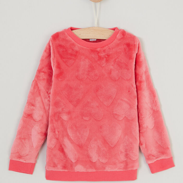 Sweat à cœurs en relief fille rose framboise