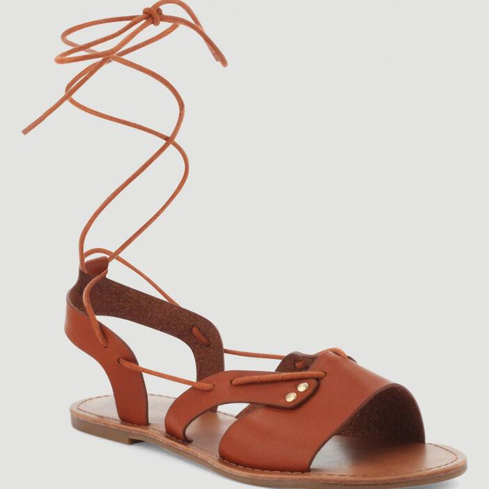 Sandales avec laçage cheville femme marron