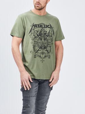 T shirt Metallica vert kaki homme