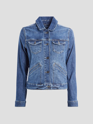 Veste droite boutonnee en jean denim double stone femme