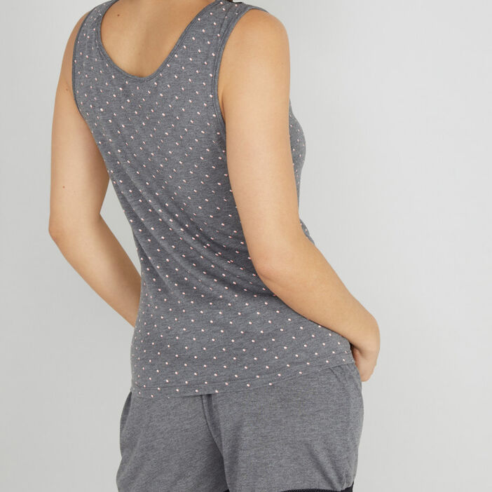 Haut de pyjama à pois femme gris foncé
