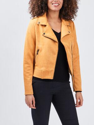Veste style biker effet suedine jaune moutarde femme