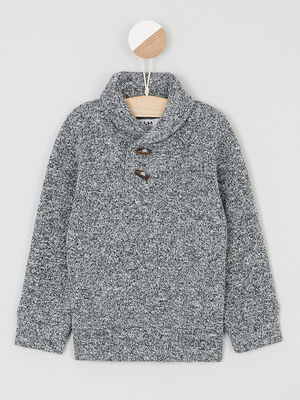 Pull col chale boutons fantaisie gris garcon