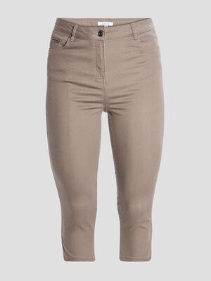 Pantalon corsaire slim vert kaki femme