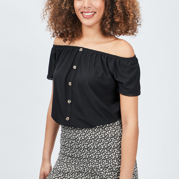 T-shirt manches courtes femme noir