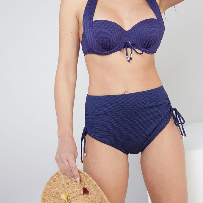 Bas de maillot avec fronces Isatis femme bleu marine