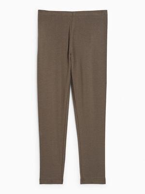 Legging coton majoritaire uni vert kaki fille